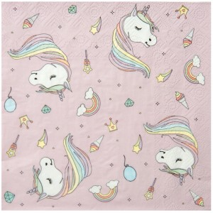 Serviettes à fond rose - Licorne - lot de 20