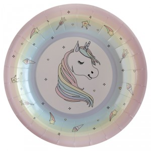 Assiettes à fond rose - Licorne - lot de 10