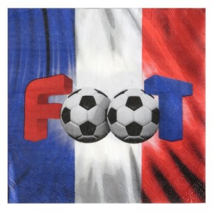 "Serviettes ""Foot"" - lot de 20 - Tricolore"