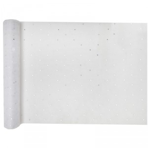 Chemin de table à strass - 30 cm x 5 m - Blanc