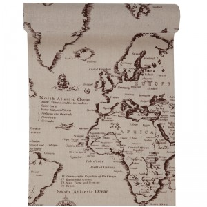 Chemin de table - Voyage World - 28 cm x 3 m