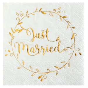 "Serviettes ""Just Married"" - lot de 20 - Blanc et Doré"