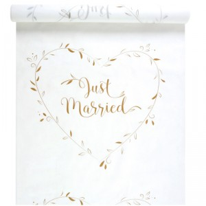 "Tapis ""Just Married"" - Blanc et Doré - 10 m"