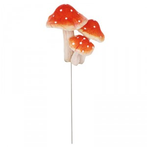 Champignons rouges en pique - lot de 3