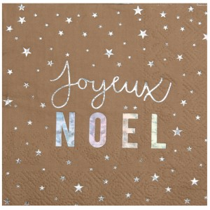 "Serviette cocktail ""Joyeux Noël - lot de 20"