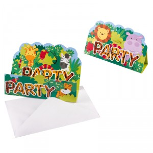 Cartes d'invitations - Jungle kids - lot de 8