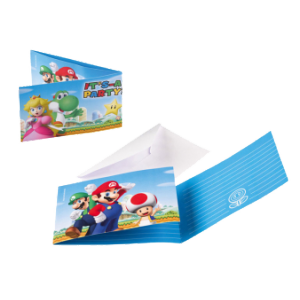 Invitations Super Mario (lot de 8)