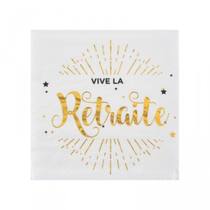 "Serviettes cocktail ""Vive la Retraite"" - lot de 20"