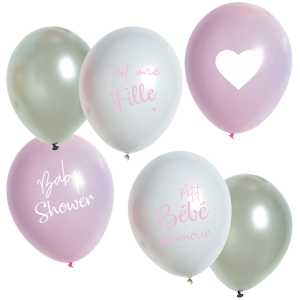 "Ballons ""Baby Shower"" - 25 cm - lot de 6"