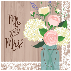 "Serviettes ""Mr & Mrs"" 33 x 33 cm (lot de 20)"
