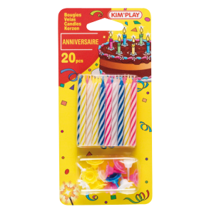 Bougies anniversaire (lot de 20) + 20 supports