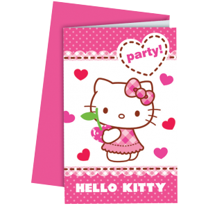 "Invitations + enveloppes ""Hello Kitty Cherry"" (lot..."
