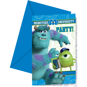"Invitations + enveloppes ""Monsters University"" (lot..."