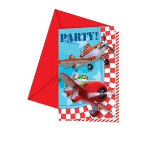 "Invitations + enveloppes ""Planes"" (lot de 6)"