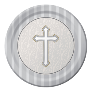 "Assiette ""Communion grey"" Ø 22 cm ( lot de 8 )"