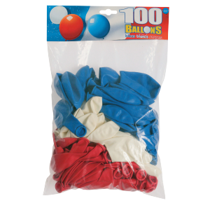 Ballon standard tricolore (lot de 100)