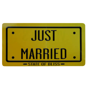 "Pancarte ""Just married"" recto - verso"