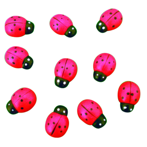 Coccinelle mini bois 1.5 cm ( lot de 10 )