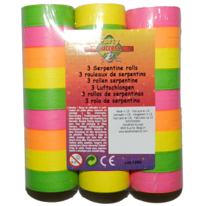 Rouleau de serpentins fluo - lot de 3 - Multicolore