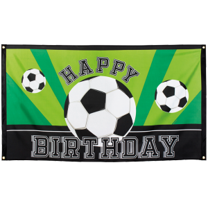 "Bannière Ballons de foot ""Happy Birthday"""