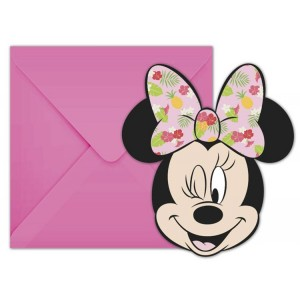 Cartes d'invitation - Minnie Tropical - lot de 6