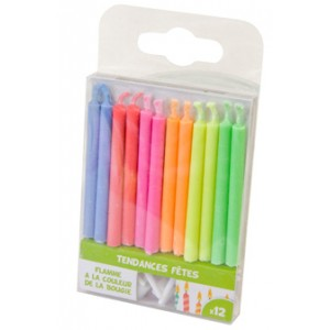 Bougies à flamme colorée - lot de 12